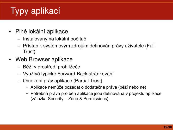 Typy aplikací