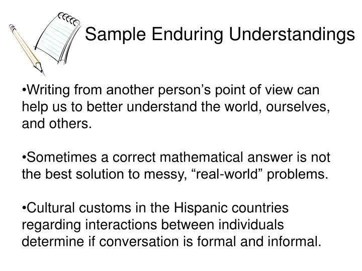 Sample Enduring Understandings