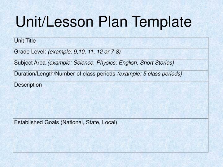 Unit/Lesson Plan Template