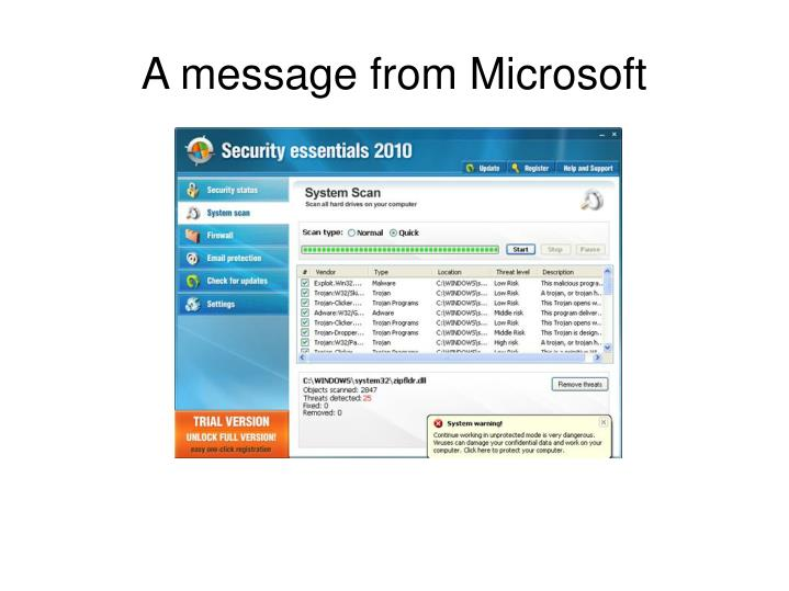 A message from Microsoft
