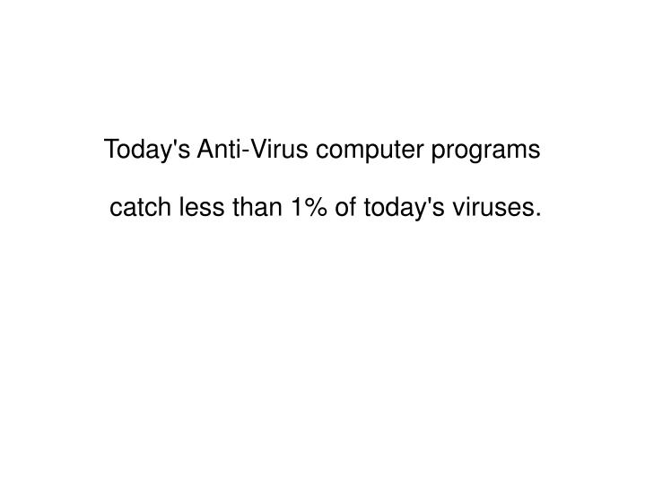 Today's Anti-Virus computer programs