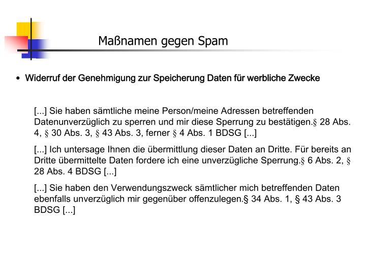 Maßnamen gegen Spam