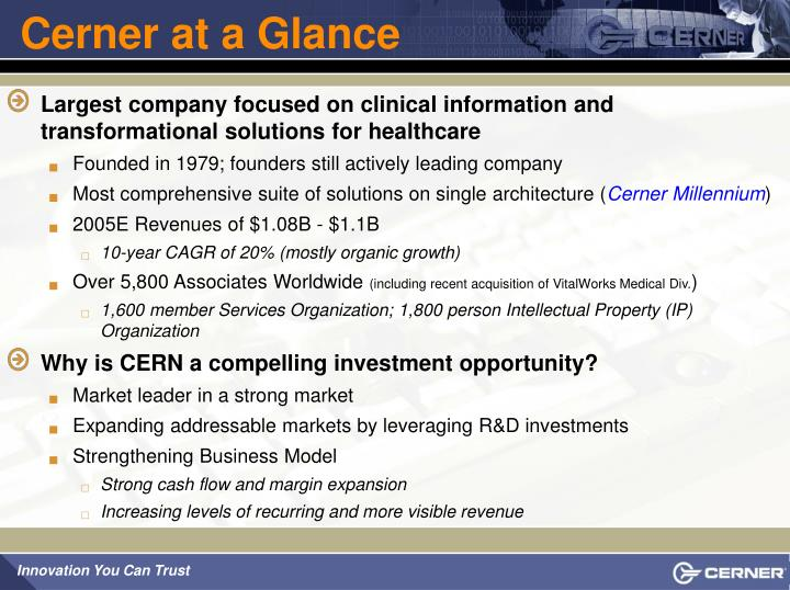 Cerner at a glance