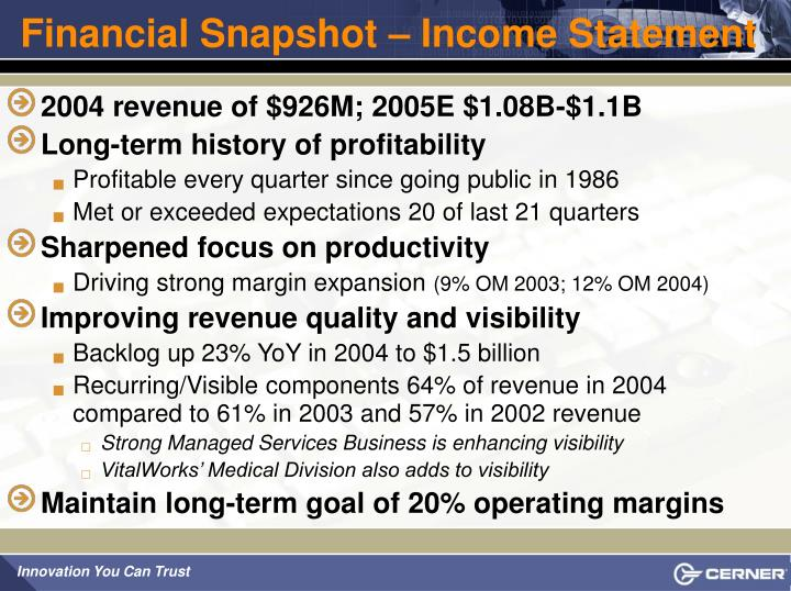 Financial Snapshot – Income Statement