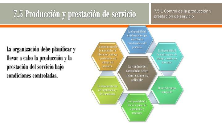 7.5 Producción y prestación de servicio