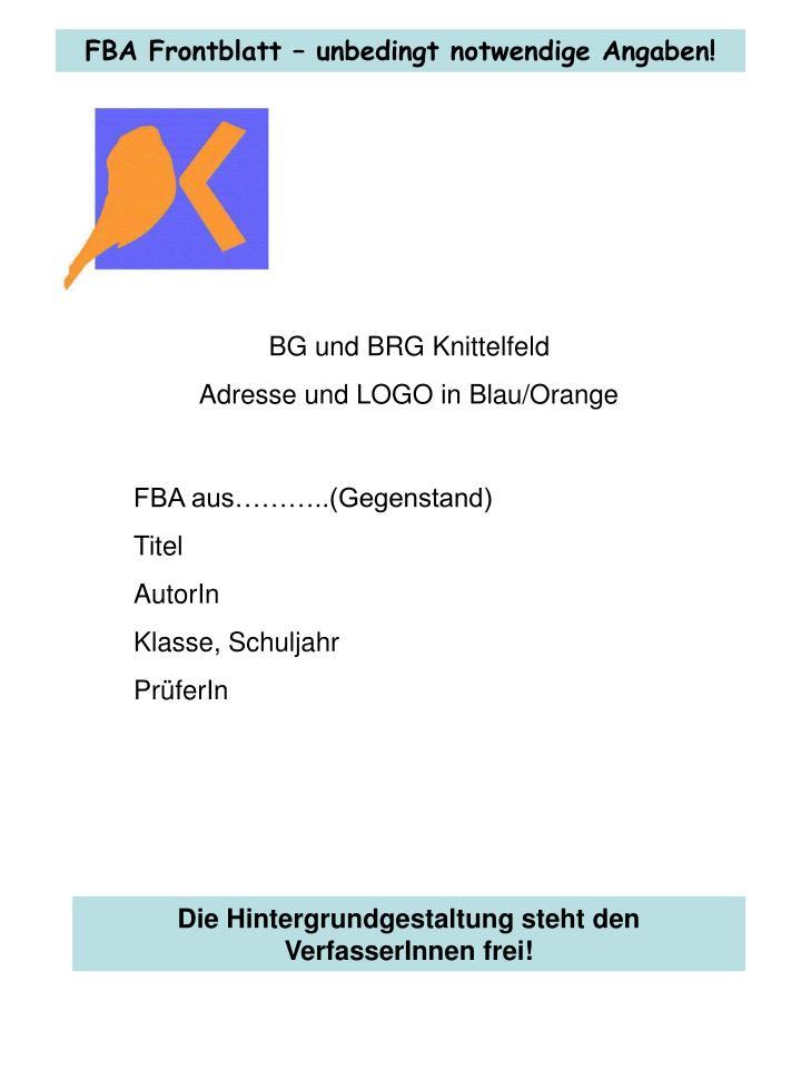 FBA Frontblatt – unbedingt notwendige Angaben!