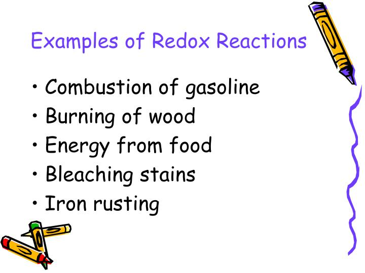 Examples of redox reactions