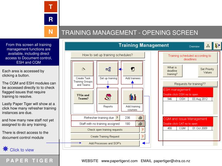 TRAINING MANAGEMENT - OPENING SCREEN
