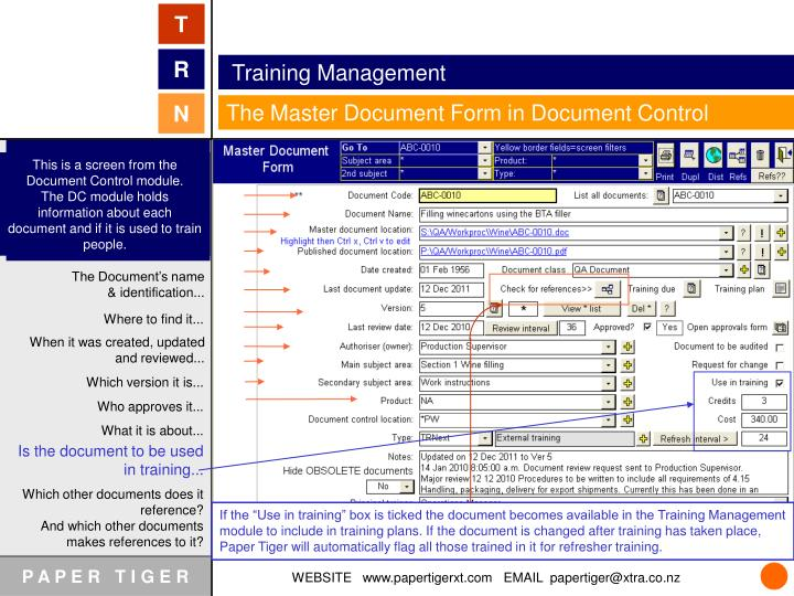 This is a screen from the Document Control module.