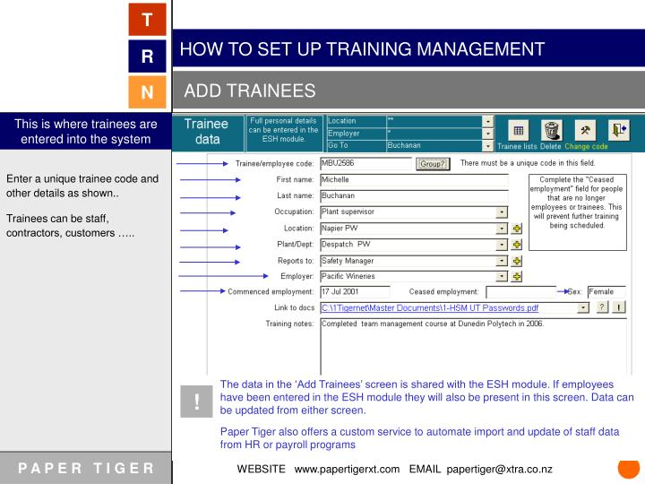 HOW TO SET UP TRAINING MANAGEMENT