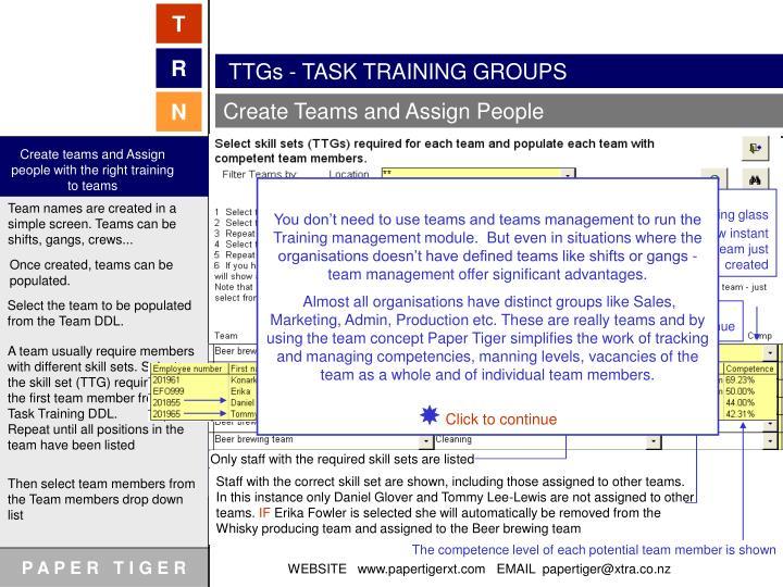 TTGs - TASK TRAINING GROUPS