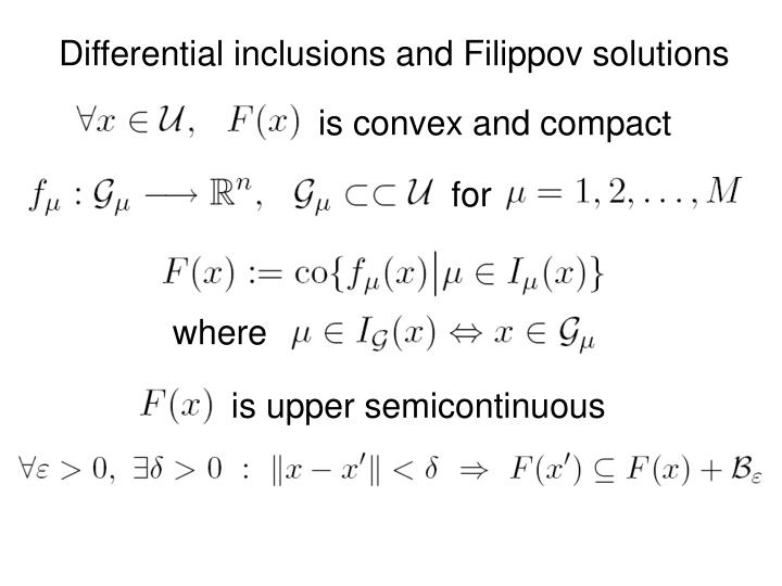 Differential inclusions and Filippov solutions