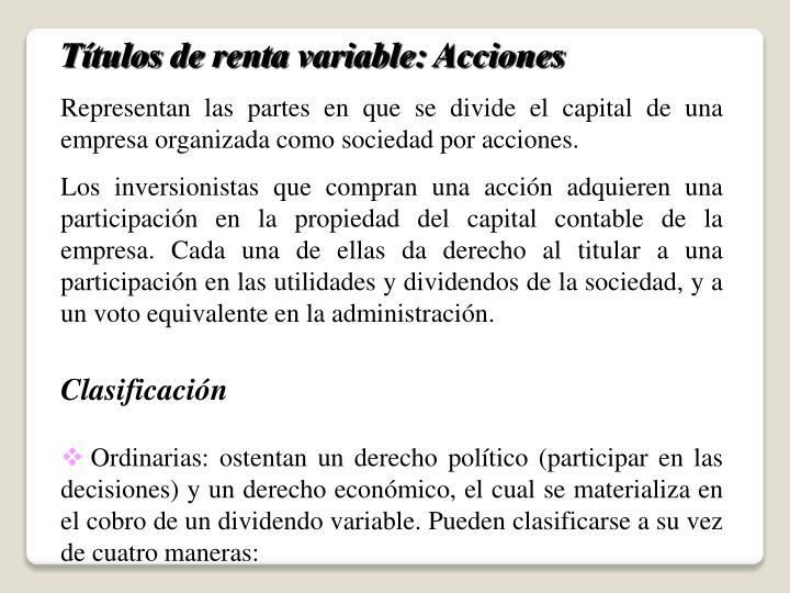 Títulos de renta variable: Acciones