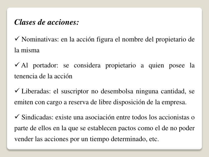 Clases de acciones:
