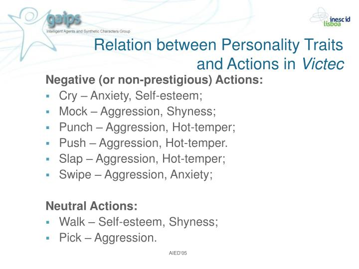 Relation between Personality Traits and Actions in
