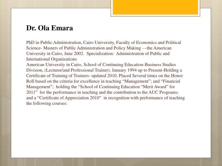 Dr. Ola Emara