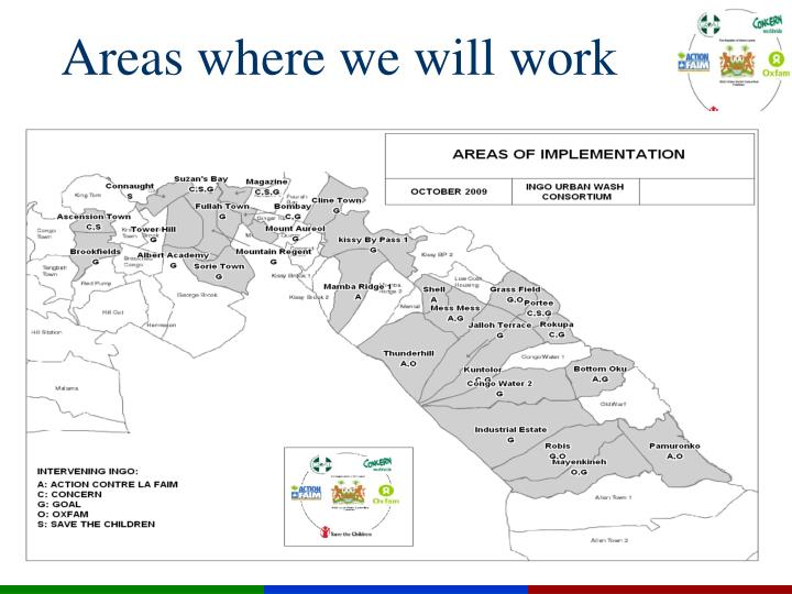 Areas where we will work