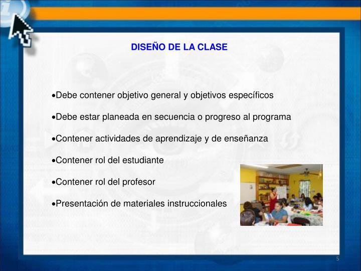 DISEÑO DE LA CLASE