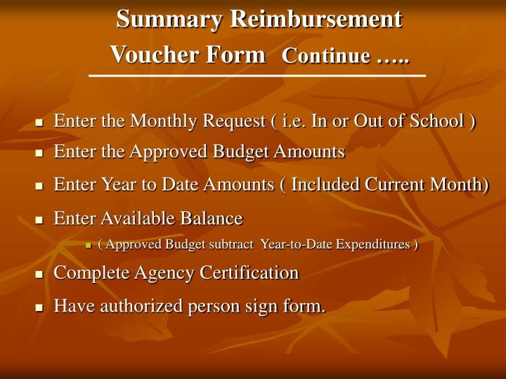 Summary Reimbursement