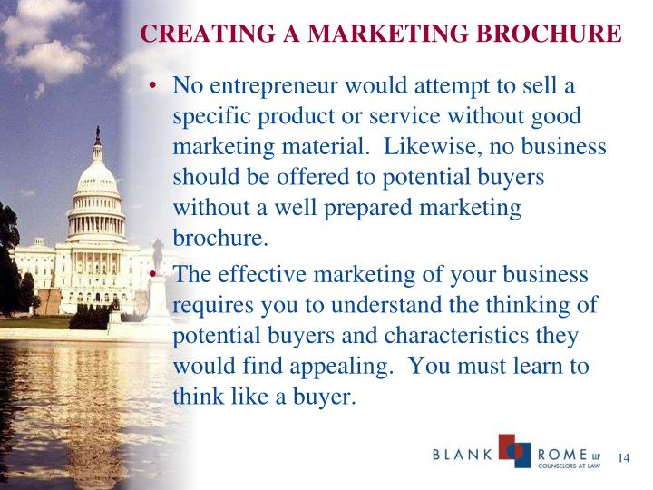 CREATING A MARKETING BROCHURE