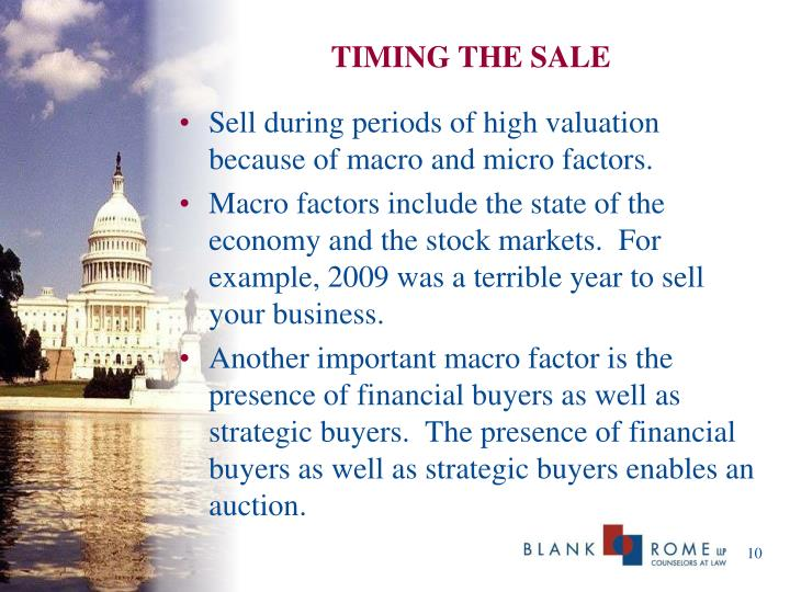 TIMING THE SALE