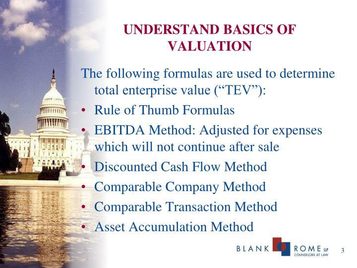 UNDERSTAND BASICS OF VALUATION