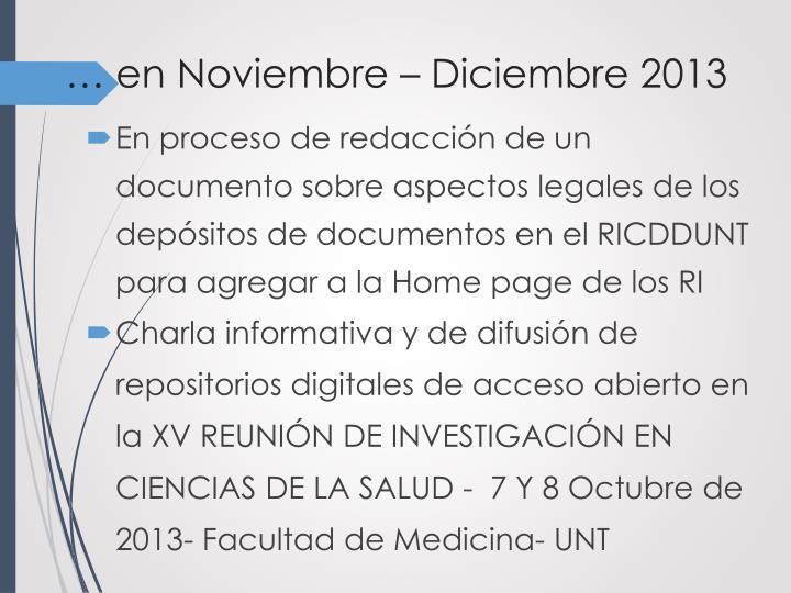 … en Noviembre – Diciembre 2013
