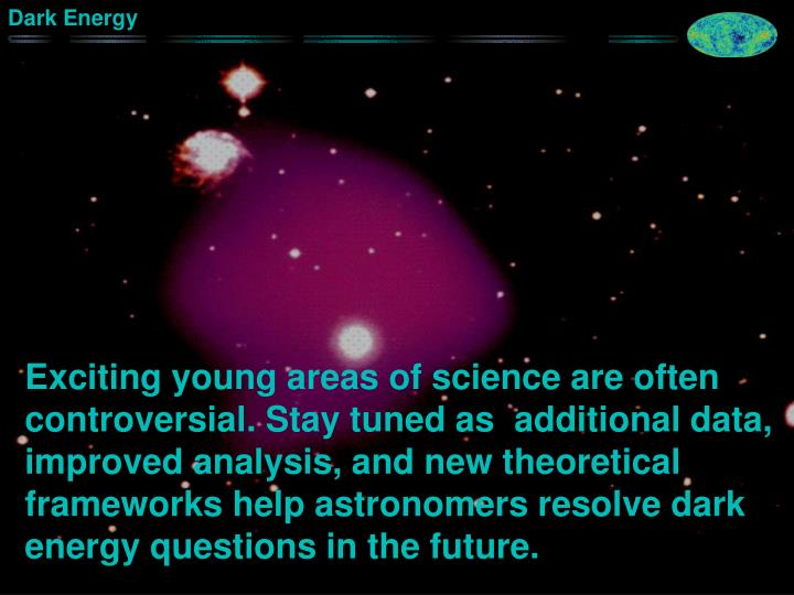 Exciting young areas of science are often controversial. Stay tuned as  additional data, improved analysis, and new theoretical frameworks help astronomers resolve dark energy questions in the future.
