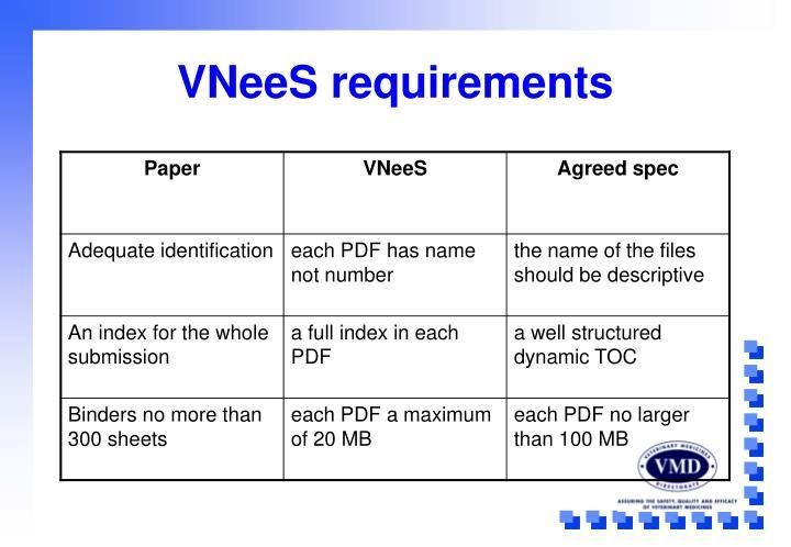 VNeeS requirements