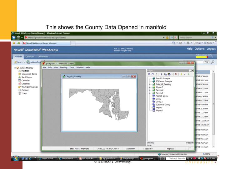This shows the County Data Opened in manifold