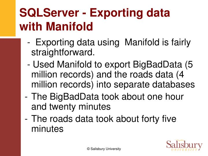 SQLServer - Exporting data with Manifold