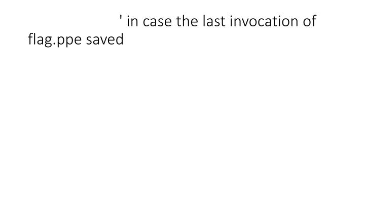 ' in case the last invocation of flag.ppe saved