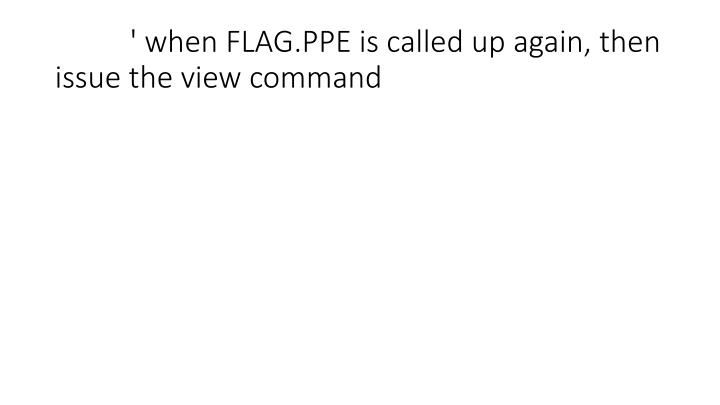 ' when FLAG.PPE is called up again, then issue the view command