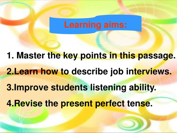 Learning aims: