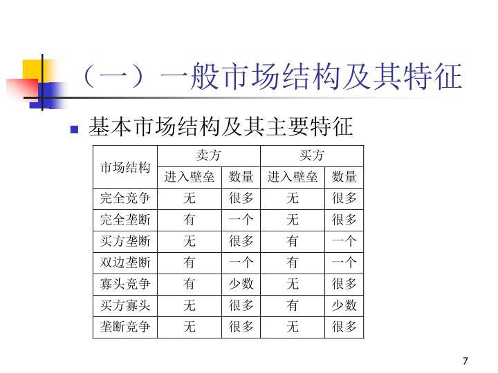 (一)一般市场结构及其特征