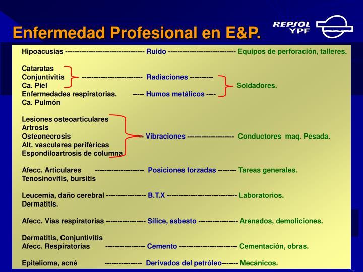 Enfermedad Profesional en E&P.