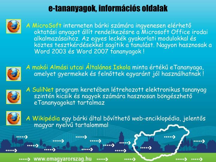 e-tananyagok, információs oldalak