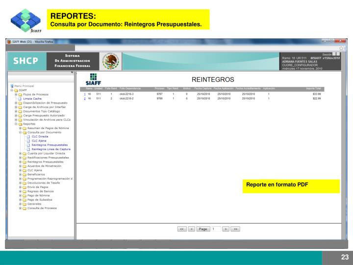 REPORTES: