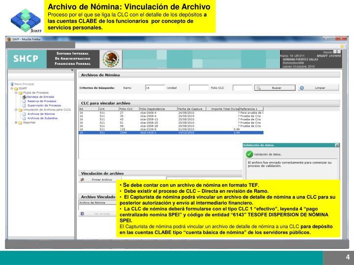 Archivo de Nómina: Vinculación de Archivo