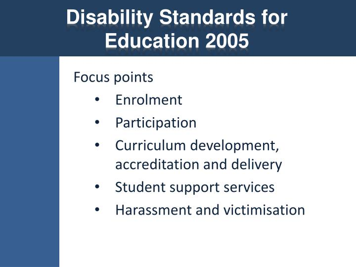 Disability standards for education 2005