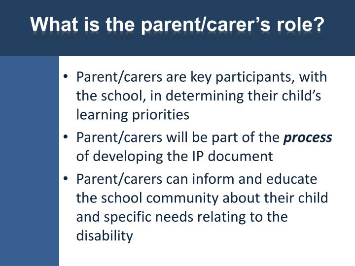 What is the parent/carer's role?