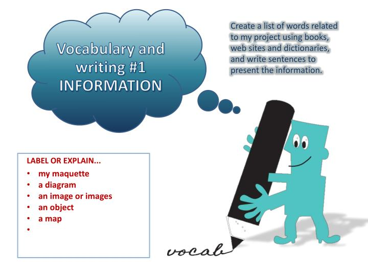 Vocabulary and writing #1