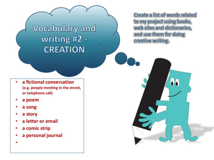 Vocabulary and writing #2 -