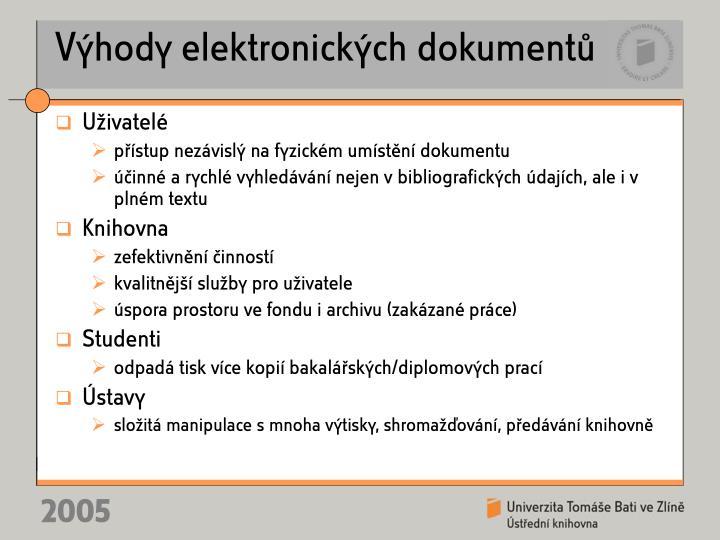 Výhody elektronických dokumentů