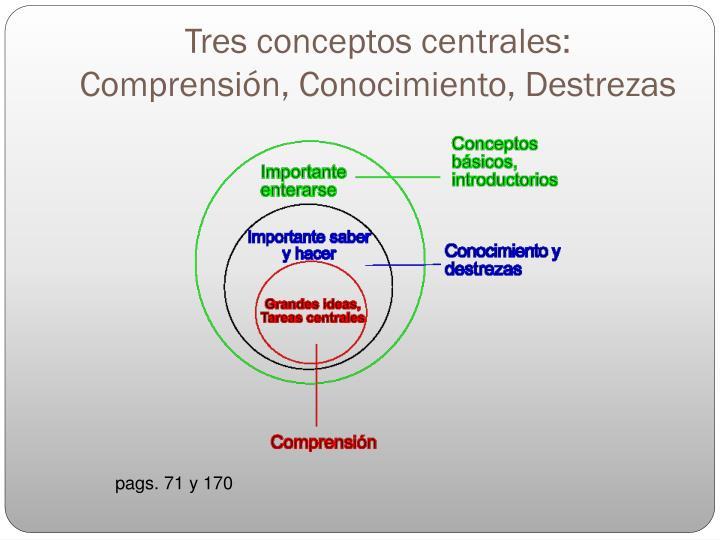 Tres conceptos centrales: Comprensión, Conocimiento, Destrezas