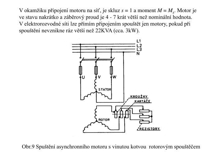 V okamžiku připojení motoru na síť, je skluz
