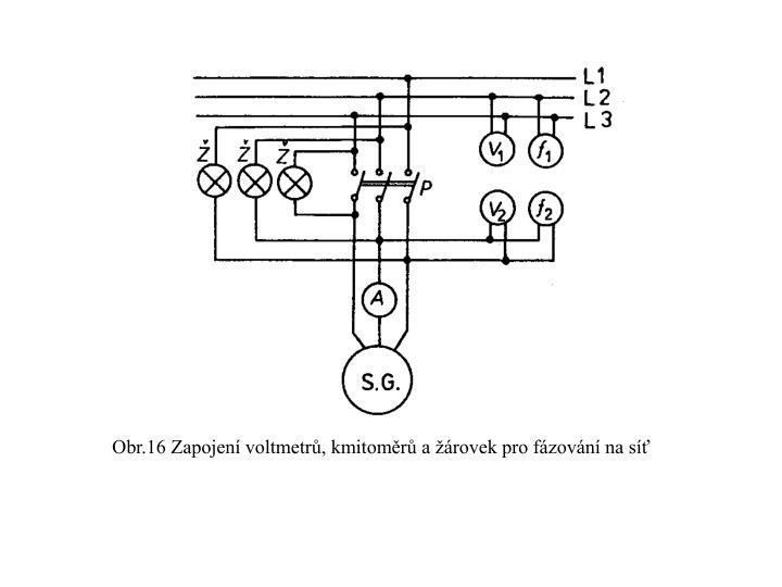 Obr.16 Zapojení voltmetrů, kmitoměrů a žárovek pro fázování na síť