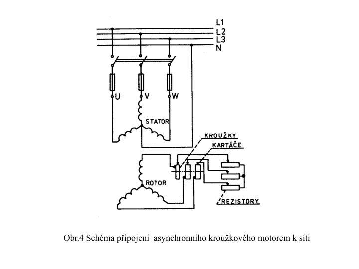 Obr.4 Schéma připojení  asynchronního kroužkového motorem k síti
