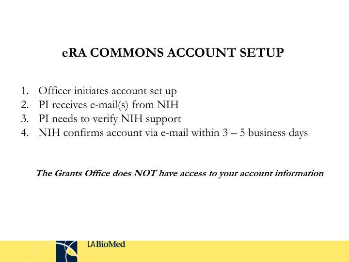 eRA COMMONS ACCOUNT SETUP