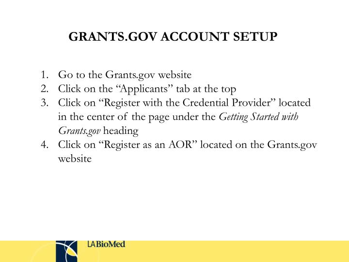 GRANTS.GOV ACCOUNT SETUP